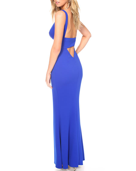 Image 2 of 3: Katie May Helena Deep V-Neck Sleeveless Cutout Back Pebble Crepe Gown