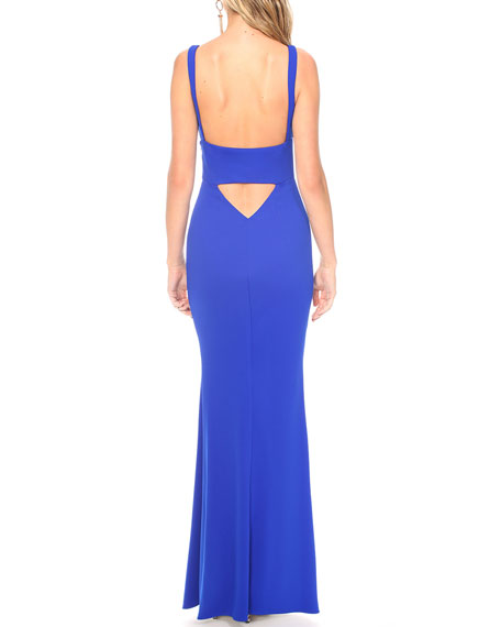 Image 3 of 3: Katie May Helena Deep V-Neck Sleeveless Cutout Back Pebble Crepe Gown