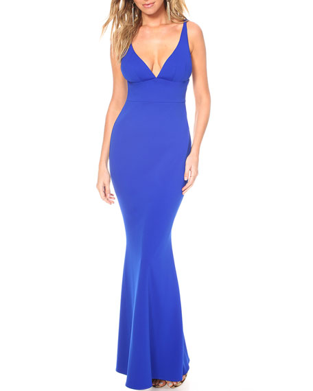 Image 1 of 3: Katie May Helena Deep V-Neck Sleeveless Cutout Back Pebble Crepe Gown