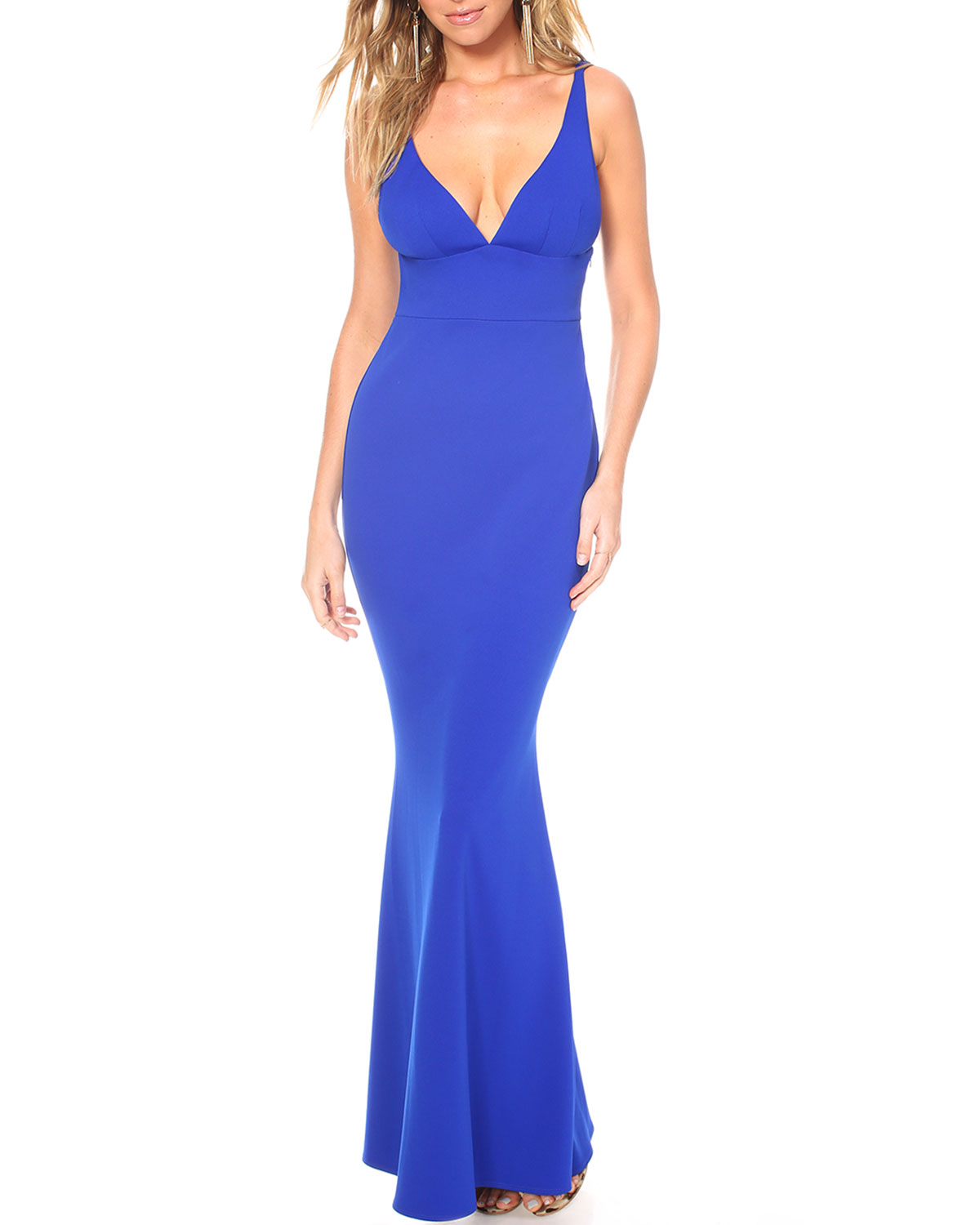 Katie May Helena Deep V-Neck Sleeveless Cutout Back Pebble Crepe Gown