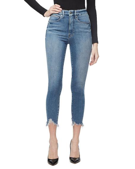 Good American Good Waist Crop Chewed-Hem Jeans - Inclusive Sizing