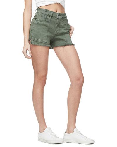 Frayed Cutoff Shorts with Pork Chop Pockets