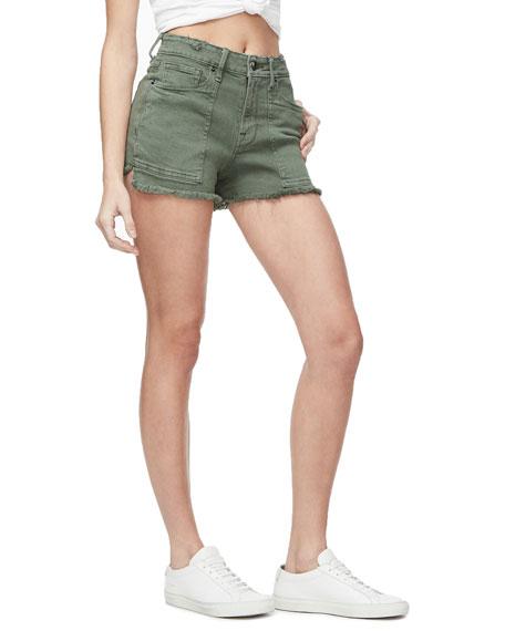 Good American Frayed Cutoff Shorts with Pork Chop Pockets