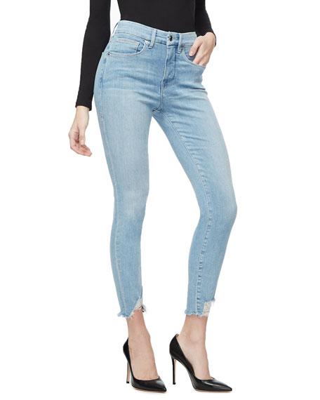 Good American Good Legs Chewed Triangle Hem Jeans - Inclusive Sizing