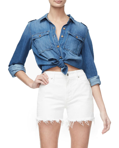 Good American Basic Denim Button-Front Shirt