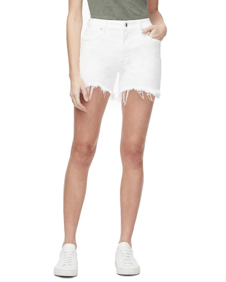 Good American Bombshell Frayed High-Rise Shorts - Inclusive Sizing