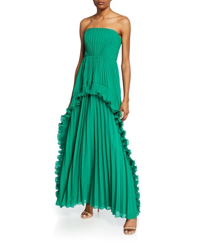 Strapless Pleated Gown with Ruffles
