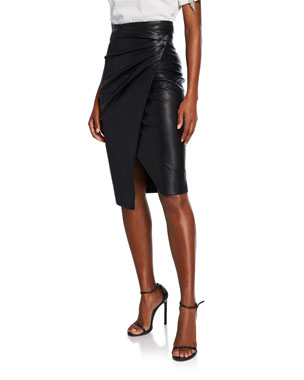 2f1ce93dea4e0a PINKO Faux-Leather Shirred Wrap Skirt