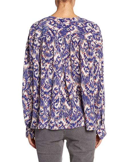 Etoile Isabel Marant Yacah Printed Split-Neck Silk Blouse