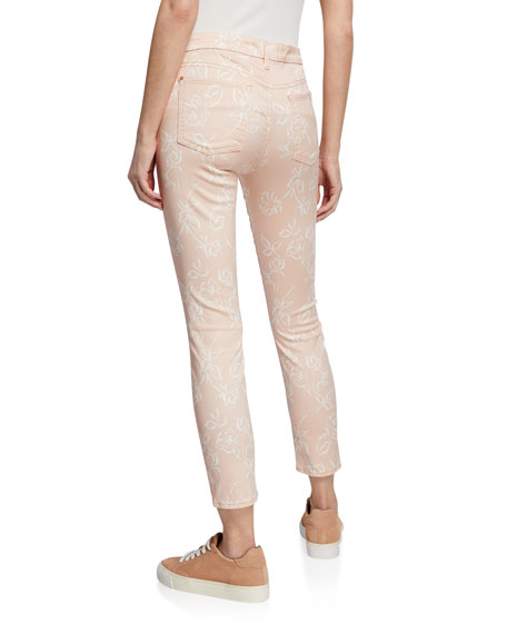 Jen7 by 7 for All Mankind Rose-Print High-Rise Ankle Skinny Jeans