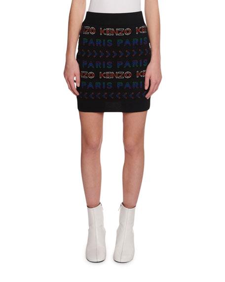 Kenzo Allover Kenzo Paris Logo Tube Skirt