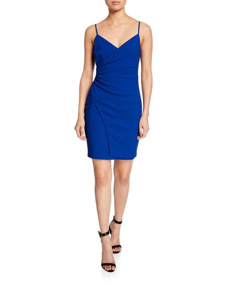 Black Halo Estero Faux-Wrap Mini Slip Dress
