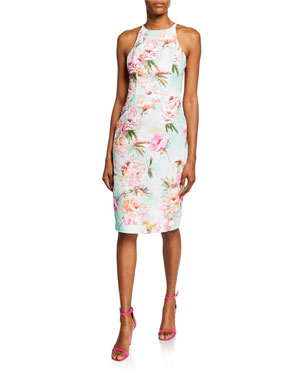 060014b31fb Black Halo Montego Floral-Printed Sleeveless Sheath Dress