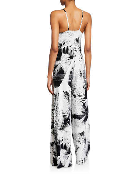 Norma Kamali Printed Wide-Leg Slip Jumpsuit