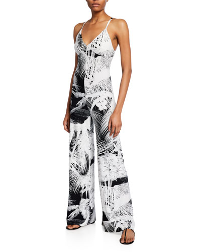 Printed Wide-Leg Slip Jumpsuit