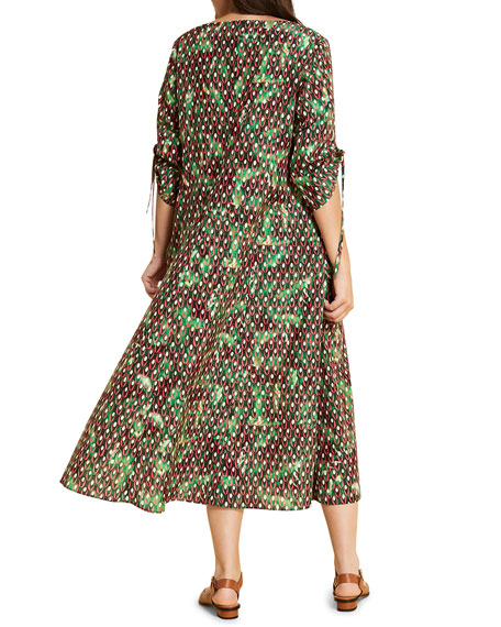 Marina Rinaldi Plus Size Dispensa Printed Scoop-Neck Elbow-Sleeve Dress