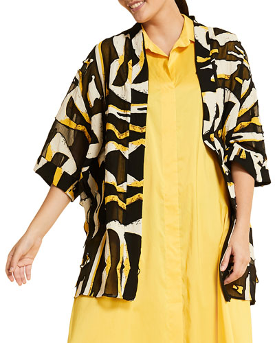 Plus Size Figurato Printed Shawl-Collar 3/4-Sleeve Jacket