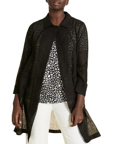 Plus Size Tattile Button-Front 3/4-Sleeve Jacket
