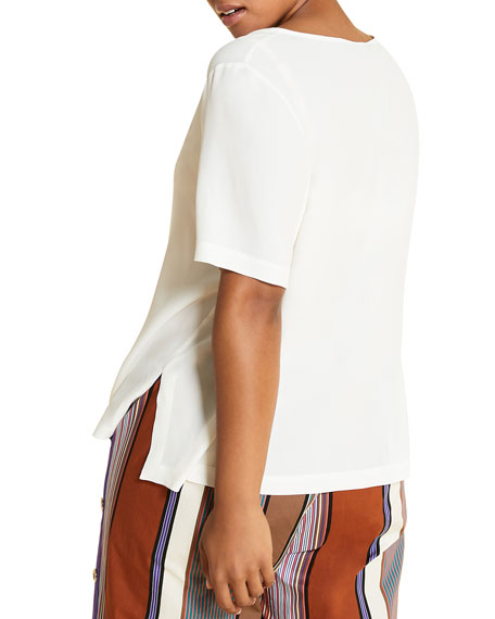 Marina Rinaldi Plus Size Bernini Short-Sleeve Side-Slit Top