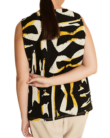 Marina Rinaldi Plus Size Bilbao Printed Sleeveless Top