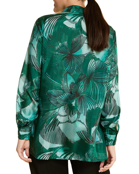 Marina Rinaldi Plus Size Fiorenza Printed Button-Front Long-Sleeve Silk Top