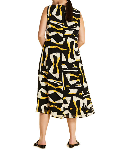 Marina Rinaldi Plus Size Docile Printed V-Neck Sleeveless Midi Dress