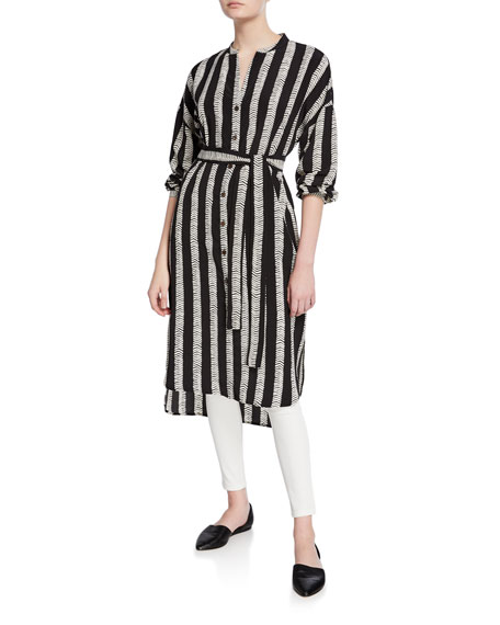DUBGEE by Whoopi Plus Size Half Herringbone Button-Front Long Tunic