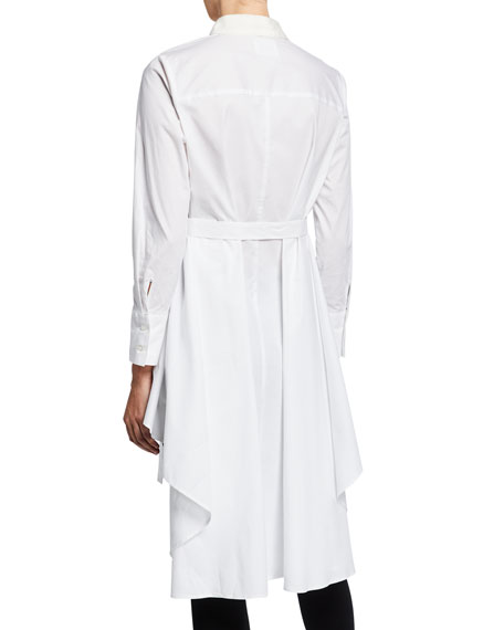 DUBGEE by Whoopi Plus Size Button-Down High-Low Belted Cotton Poplin Tunic
