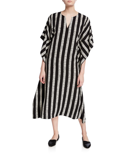 Plus Size Half Herringbone Striped Long Kimono Dress