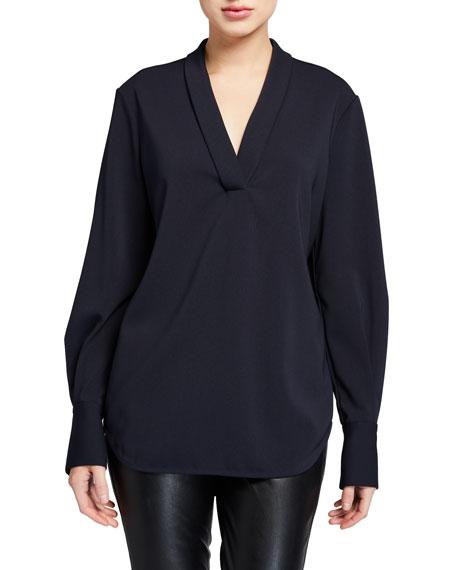 Equipment Charlina V-Neck Long-Sleeve Shirttail Blouse
