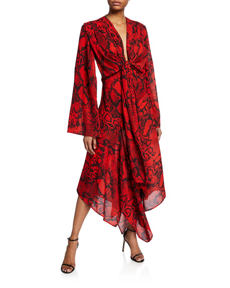 Solace London Nelli Tie-Front Snake-Print Long Dress
