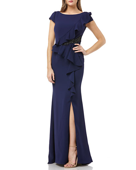 Carmen Marc Valvo Infusion Bateau-Neck Cap-Sleeve Crepe Gown with Ruffle & Beaded Detail