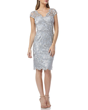 97d32984431 Carmen Marc Valvo Infusion Metallic Embroidered V-Neck Cap-Sleeve Cocktail  Dress