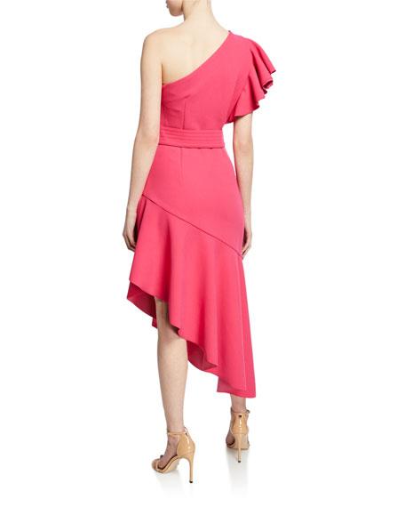 Elliatt Finale One-Shoulder Asymmetric Flounce Dress