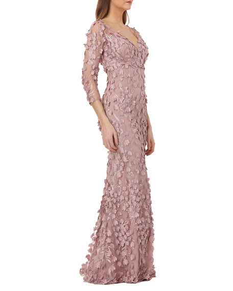 Carmen Marc Valvo Infusion V-Neck 3/4-Sleeve 3D Petal Embellished Column Gown