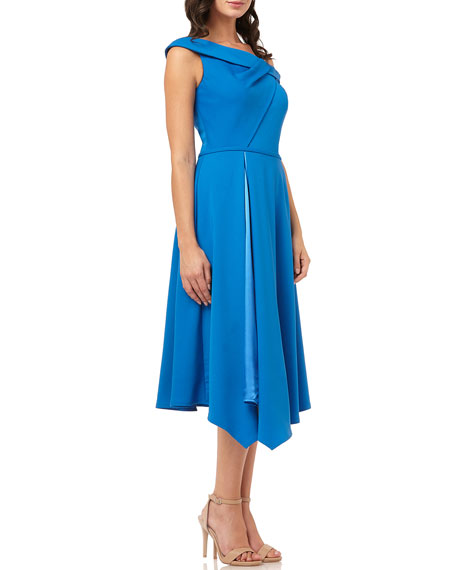 Carmen Marc Valvo Infusion One-Shoulder Asymmetric Satin-Lined Midi Crepe Dress