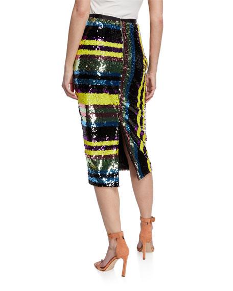 Elliatt Lola Sequin Stripe High-Waist Midi Skirt