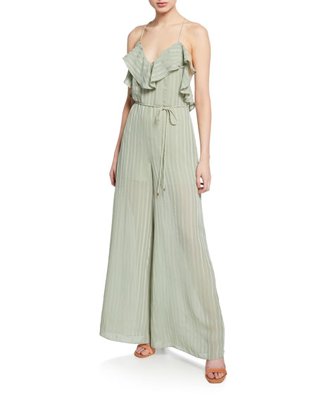 Elliatt Runway Satin Stripe Tie-back Sleeveless Wide-Leg Ruffle Jumpsuit