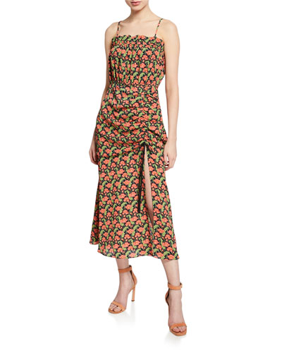 Regal Floral-Print Shirred Sleeveless Dress with Slit