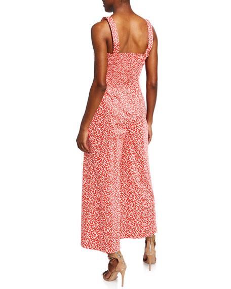Rebecca Taylor Malia Sleeveless Printed Bow Jumpsuit