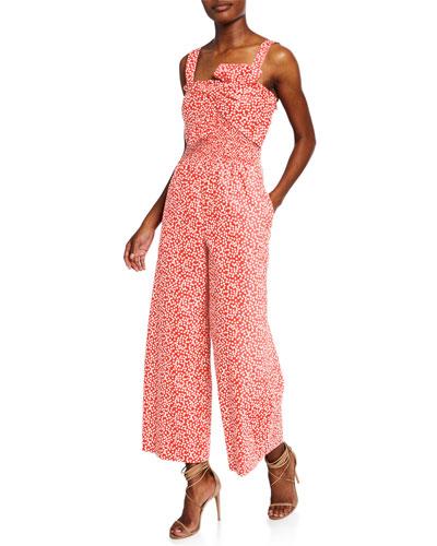 Malia Sleeveless Printed Bow Jumpsuit