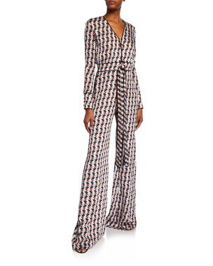 f2ffd6ce80f Alexis Yarra Printed Long-Sleeve Tie-Front Jumpsuit