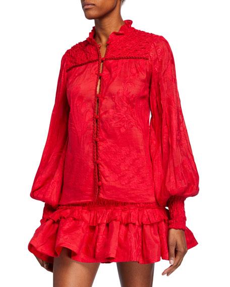 Alexis Jacki Floral Jacquard Button-Front Top