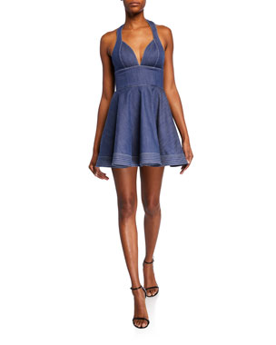 d25d088c9 Alexis Tarrana Halter Flounce Short Dress