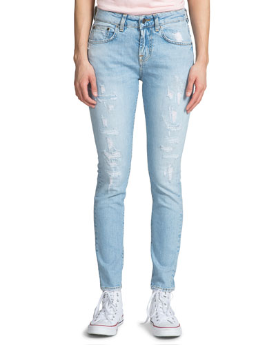 Mid-Rise Distressed Light-Wash Skinny Jeans