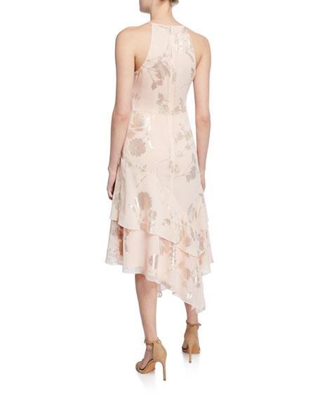 Parker Black Ida Foiled Bouquet Halter Dress with Asymmetric Hem