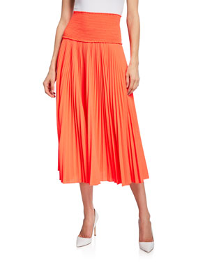 c7629fd38e0 A.L.C. Hedrin Smocked Pleated Midi Skirt