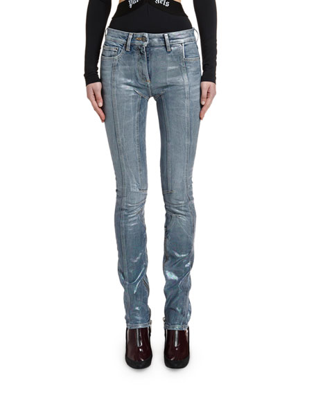 Palm Angels Straight-Leg Biker Denim Pants