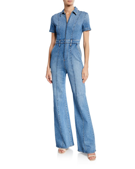 ALICE + OLIVIA JEANS Gorgeous Wide-Leg Fitted Denim Zip Jumpsuit