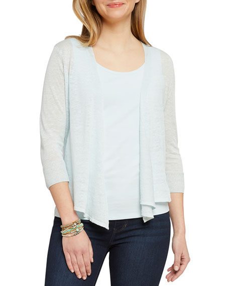 NIC+ZOE Plus Size 4-Way Open-Front Linen Cardigan